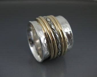 uber wide sterling spinner ring with five mixed metal spinners, cocktail ring, meditation ring, fidget ring, silver and gold ring