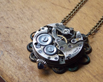 Steampunk Necklace Clockworks Vintage Watch Necklace Recycled Jewelry Sapphire Stem