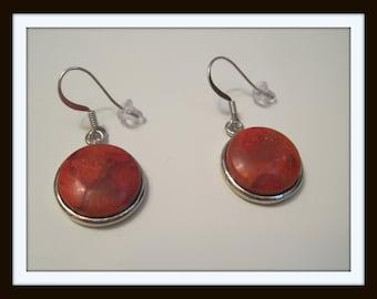 Red Coral Sterling earrings
