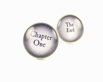 Mens Valentines Gift - Gift For Groom - Anniversary Gift - Book Cuff Links - Chapter One and The End Cufflinks - Wedding Favors