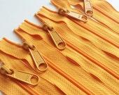 24 Inch YKK Long Handbag Pull Purse Zippers Color o56 Bright Orange - 5 Pieces