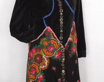 Boho hippie colorful upcycled coat
