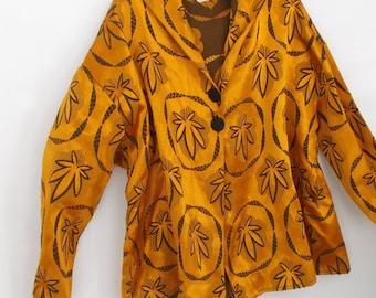 Hemp, pot leaf, hooded coat,  jacket,  vintage fabric, one size,  one of a kind, festival, hippie, boho,
