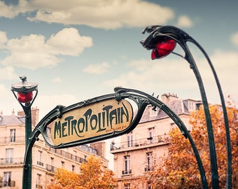 paris photography, metropolitan, metro sign, france, art nouveau, travel photography, french home decor / metro no. 2 / 8x10 fine art photo
