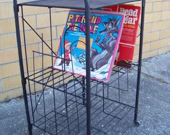 Vintage Black Metal Mesh Turntable Stand-Record Player Phonograph Stand-Album Storage-Mid Century Mod-Retro Plant Stand-Nostalgic