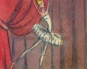 Original ACEO Painting -- Ballet dancer