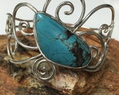 Sterling Silver and Turquoise Swirly Bracelet Cuff