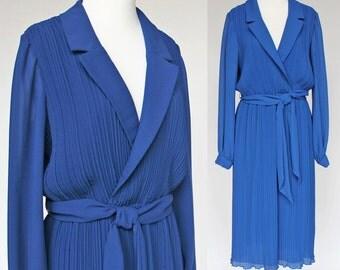 70's Chiffon Dress / Polyester / Cobalt Blue / Accordion Pleats / Long Sleeves / Medium