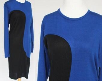 80's Knit Sheath / Sweater Dress / Swirl Color Block / Cobalt & Black / Medium to Large