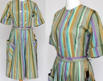 60's Shirtwaist Dress / Cotton Day Dress / Pastel Stripe / NWT / Small