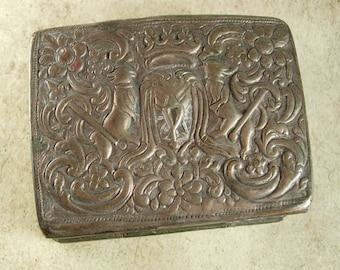 Antique French Icon Snuff Box hidden Compartment silver ermine primitive sterling family Fleur de lis crown crest