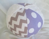 "Baby Toy Cloth Jingle Ball LARGE 7"" Lavender Chevron"