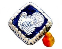 Ceramic Italian Turkey Mold Blue & White Wall Decor 1980s Hand Painted