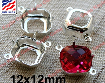 12x12mm Sterling Silver Plated Octagon Prong Setting Open Back 1 Ring 2 Ring Made in the USA - 6pcs