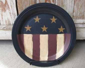 Primitive Country Americana Stars-n-Stripes Hand Painted Personalized Decorative Plate-GCC00335