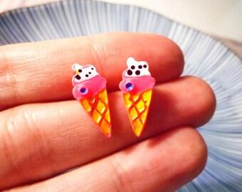 SALE - Cute Ice Cream Cone Stud Earrings