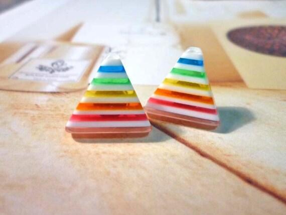 SALE - Rainbow Triangle Earrings - No.02