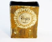 """Modernist Studio Pottery Vase with Sun Design """"The Time To Be Happy Is Now"""""""
