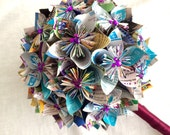Custom Disney Park Map Paper Flower Wedding Bouquet with Mickey Jewels - Made to Order
