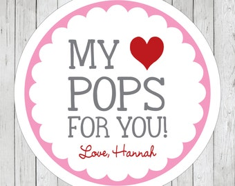 My Heart Pops for You Stickers, Personalized Valentine Labels, Valentine Tags, My Heart Pops for You Tags