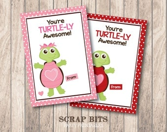 Instant Download . You're Turtle-ly Awesome Turtle Printable Valentine's Day Card for Lollipops