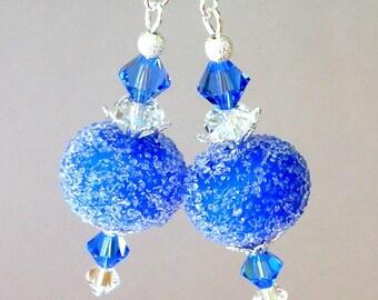 Sapphire blue lampwork earrings, blue sugar lampwork glass earrings with Swarovski crystal elements
