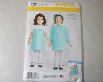 New Simplicity Girl's Dress and Coat  Pattern, 1207 (1/2-1-2-3-4) (Free US Shipping)