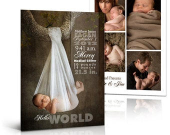 Birth Announcement Templates - SCULPTING WORDS - 5x7  Flat and Folded Press Printed Card Photoshop Templates for Photographers.