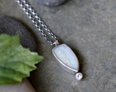 Sterling Opal Necklace, Oxidised, Sterling Silver Gemstone Pendant Necklace - Disparity Necklace in Opal