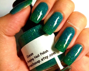 Color Changing Nail Polish - Ocean - Temperature Changing - Custom Blended Polish/Lacquer - 0.5 oz Full Sized Bottle