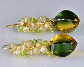 Green/Yellow Ametrine Dangle Earrings 14k Gold Filled Peridot Crystal Ametrine Gemstone Wire Wrapped Earrings