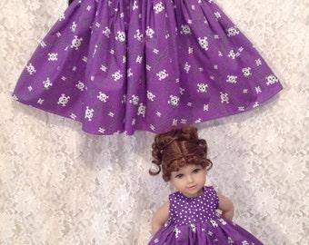Purple Punk Skulls * Matching dress for Child sz 2 3 4 and American Girl or Bitty Baby - sewnbyrachel