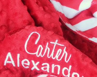 Personalized, Embroidered, Minky, Red White Chevron, Crib, Nursing, Baby, Cuddle, Soft and Comfy 30x36 Baby/Toddler Blanket, Baby Shower