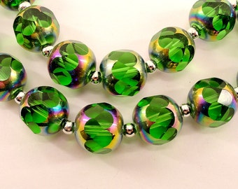 Round emerald green crystal glass beads- 14mm- faceted- 20 pcs