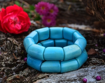 Turquoise Blue: Beautiful Tagua Bracelet, River Beads Collection/Eco-Friendly Jewelry, Tagua Nuts, Vegetable Ivory Jewelry /Gifts for her