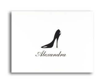 Gift of Personalized Stationery for Women Personalised Stationary with High Heel Shoe by Lime Green Rhinestones