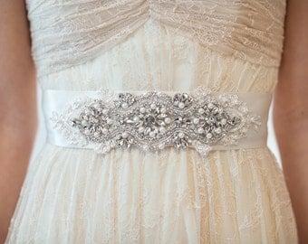 Bridal Gown Sash, Wedding Gown Sash, Rhinestone Ribbon Sash, Ivory Beaded Sash