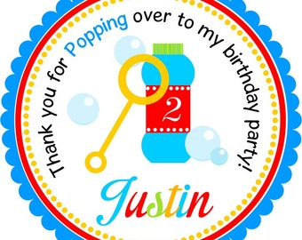 Bubbles Stickers, Blowing Bubbles, Personalized Labels or Hang Tags -Set of 13