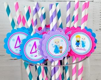 Frozen Paper Straws, Personalized Frozen Straws, Frozen Birthday Party - Set of 12