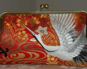 handmade 10 inch Frame Silk Kimono Fabric Bag/Purse/Clutch..Embroidered Crane.Long Island Bride/Wedding Gift..Red/Ivory/Gold..Cherry Blossom