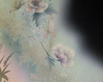 Silk Kimono Fabric Shawl Wrap Scarf Shrug Hand Painted Floral/Butterfly Black/Sea Foam Green Wedding/Bridal.see Clutch Purse Bag/Pastel/Pink