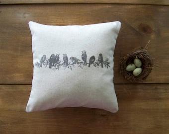 bird pillow cover / birds on branch / gray / home decor / antique image / vintage style / bird pillow / spring birds / spring ho