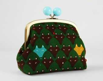 Clutch purse with metal frame - Hungry wolves on forest green - Color bobble purse / teal turquoise blue mustard yellow / Japanese fabric