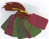 Doves Hand Stamped Large Scallop Die Cut Hang Tags (Set of 7) (C6) Favor Tags / Ready To Ship