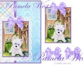 Instant Download. A4 decoupage sheet greeting card design Westie 3 Digital download for decoupage, cards and scrapbooking