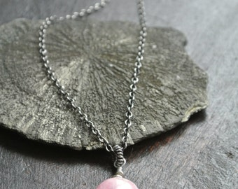 Natural Rhodocrosite Stone Pendant- Oxidized Silver Chain Necklace- Pink Necklace