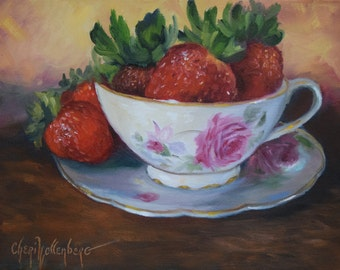 Original Still Life Oil Painting, Red Strawberries in Rose Teacup and Saucer by Cheri Wollenberg