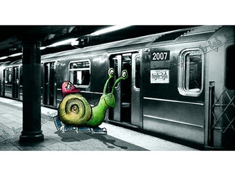Maverick Snail Runnin' for the Train (14x8 Critter Art)