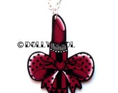 Lipstick Necklace Tattoo Style with Bow by Dolly Cool Glamour Pin Up