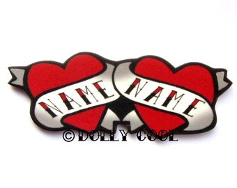Heart brooch Tattoo Custom Personalized DOUBLE Name - Your choice of words - Hand Made by Dolly Cool Rockabilly 50s